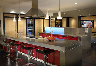 Sleek, modern kitchen with food bowls & storage unit built in under far left side of counter.